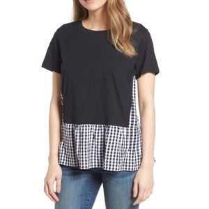 Caslon gingham layered look T-shirt